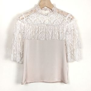NWT Nordstrom WAYF Satin and Lace Ruffle Blouse